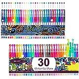Gel Pens, Glitter Pens, Gel Marker Set Colored Pen with 40% More Ink for Adult Coloring Books Drawing Doodling Crafts…