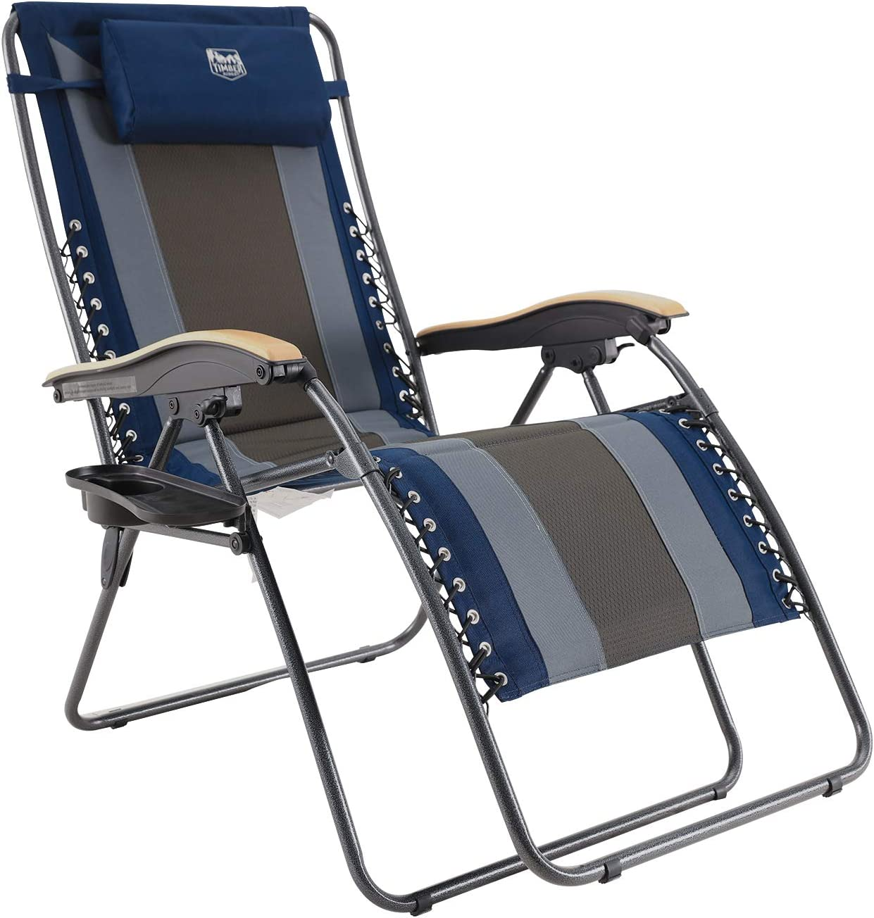 TIMBER RIDGE XL Padded Zero Gravity Lounge Chair with Cup Holder Adjustable Headrest, Support up to 350LBS (Navy Blue)