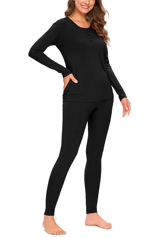 YOZLY Thermal Underwear Womens Henley Long Johns Set Base Layer Top /& Bottom S-XXL