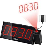 OnLyee Digital LED Dimmable Projection Alarm Clock Radio with AM/FM,USB Charging Port