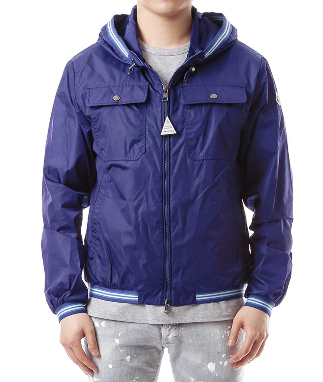 Wiberlux Moncler Jean Claude Men's Striped Trim Zip-Front Hooded Jacket 1 Blue