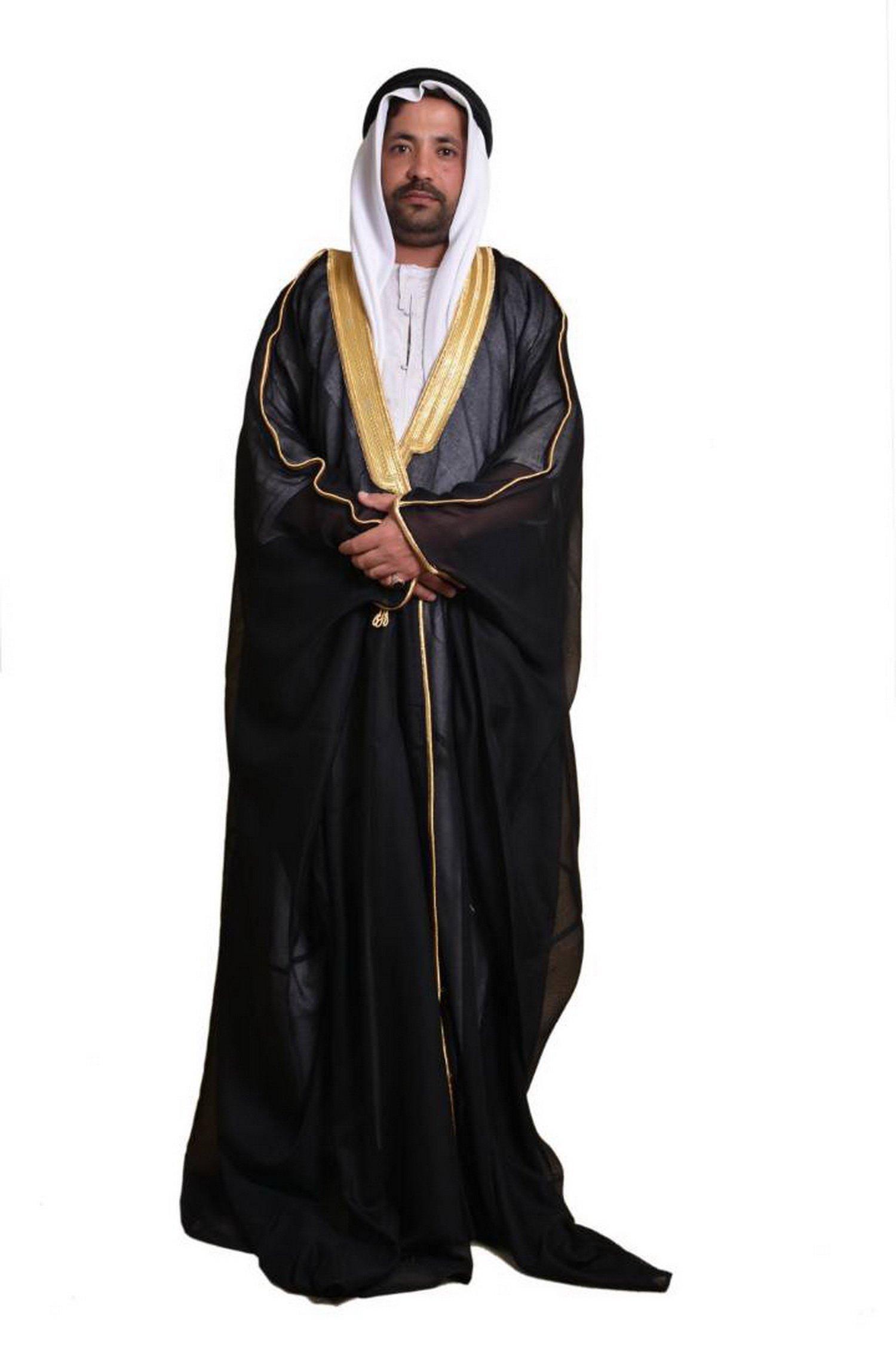 Al Aseel Amazing Mens Islamic Arabian Cloak Bisht Thobe Eid (Black)