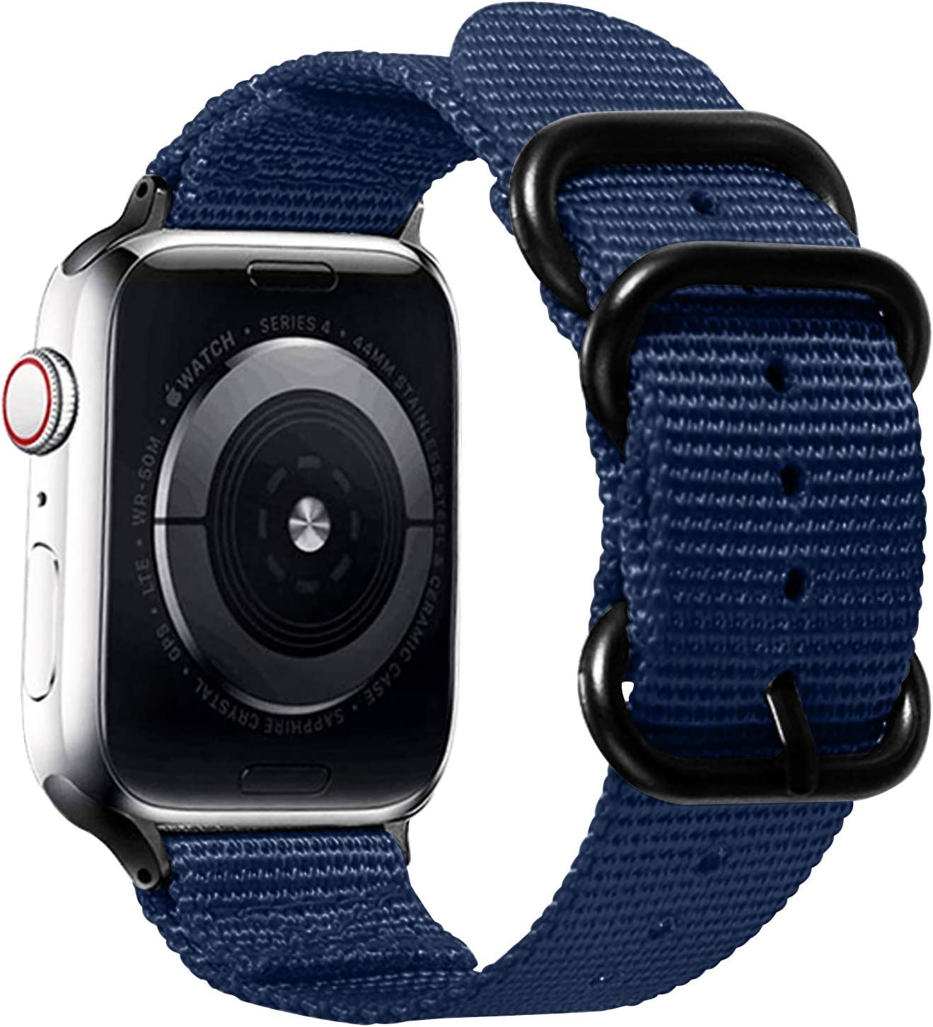 Watpro Compatible with Apple Watch Band 38mm 40mm 42mm 44mm Women Men Nylon Rugged Replacement iWatch Band Military-Style Buckle Grey Adapters for Sport Series 5 4 3 2 1 (1-Navy Blue, 42MM/44MM)