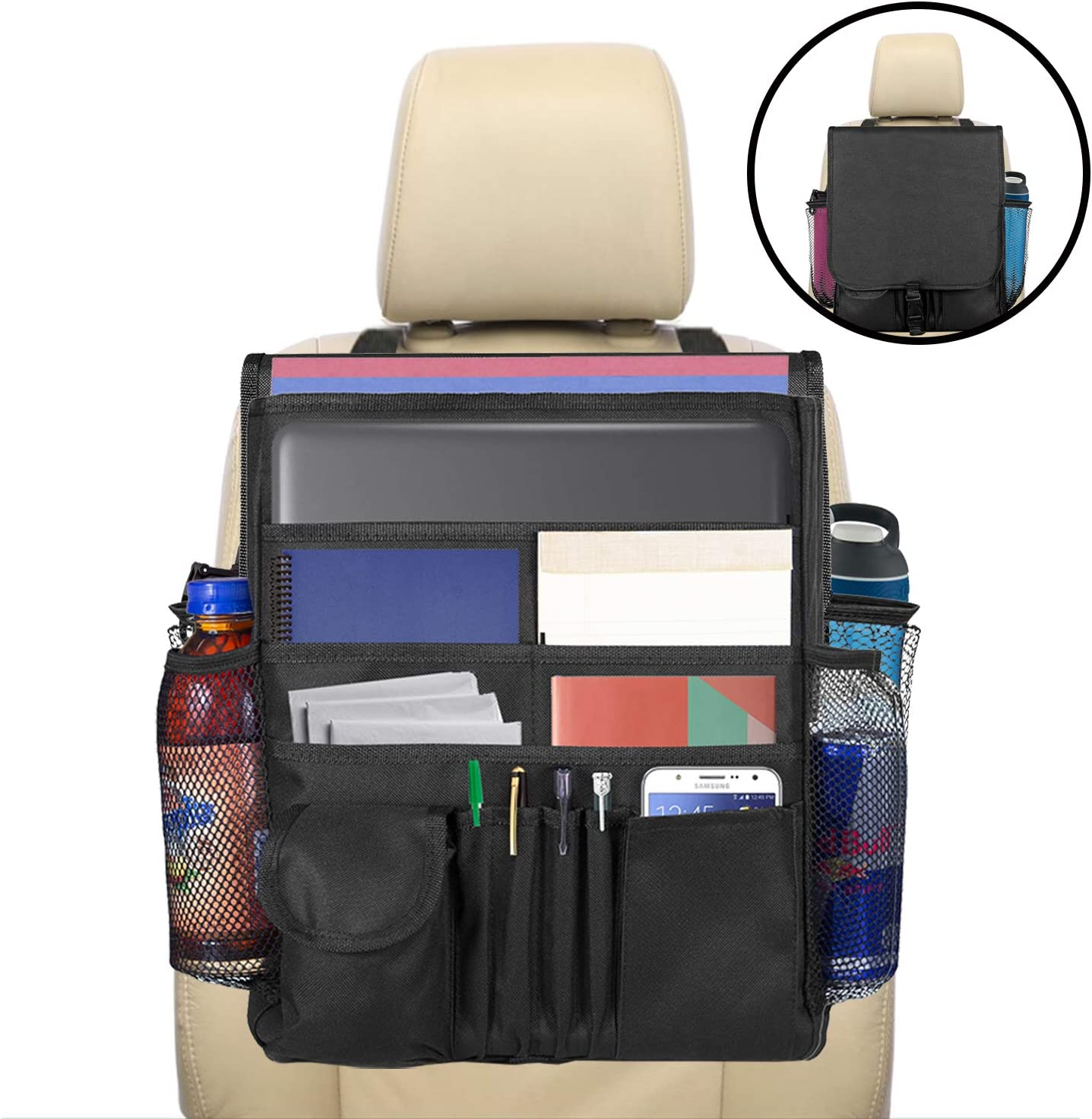 lebogner Car Organizer, Front Seat Storage Organizer, Small Driver Accessories Travel Car Office Organizer, Backseat Organizer with Large Secured Pockets, Car Seat Caddy, for Adults and Kids
