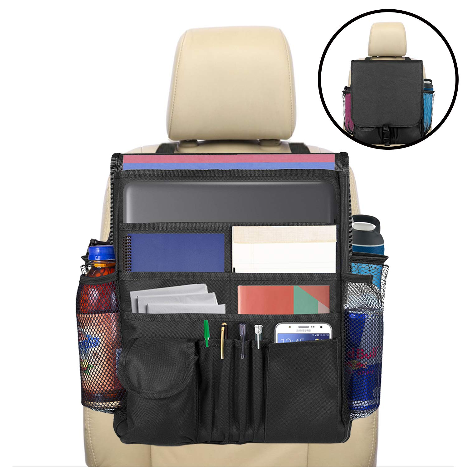 lebogner Car Organizer, Front Seat Storage Organizer, Small Driver Accessories Travel Car Office Organizer, Backseat Organizer with Large Secured Pockets, Car Seat Caddy, for Adults and Kids by lebogner