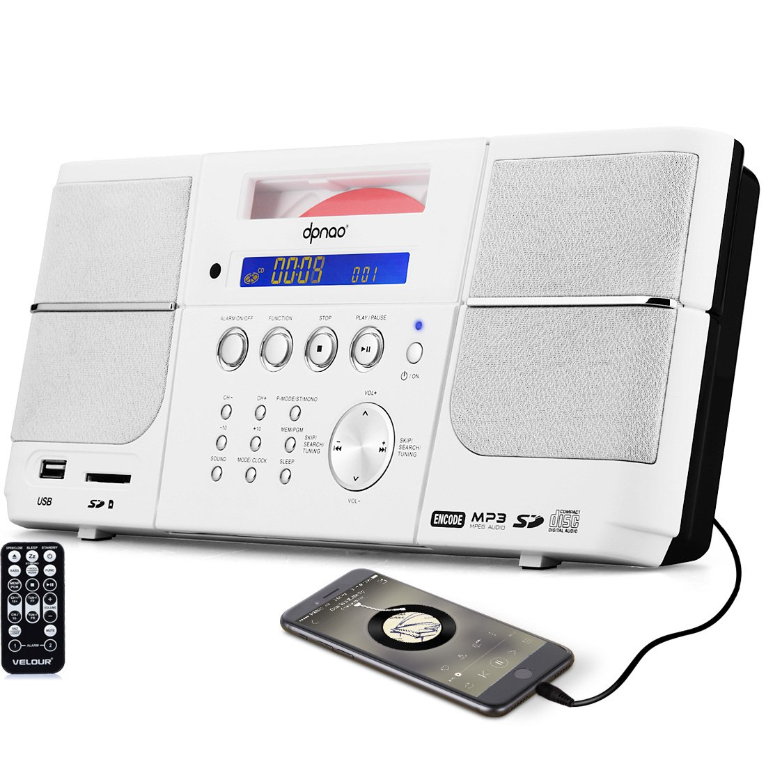 DPNAO Portable CD Player, Compact Stereo Boombox Wall Mountable with FM Radio Alarm Clock USB Aux-in Remote Headphone Jack for kids Home Bedrooms (White)