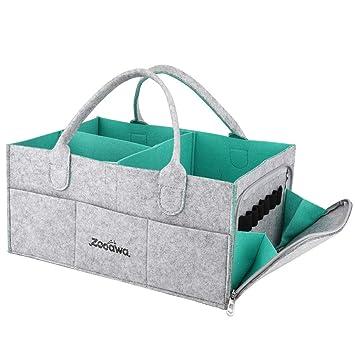 Blue Portable Felt Baby Nappy Caddy Storage Organizer Tote Diaper Caddy Organizer Baby Wipes Bag Nursery Storage Bin