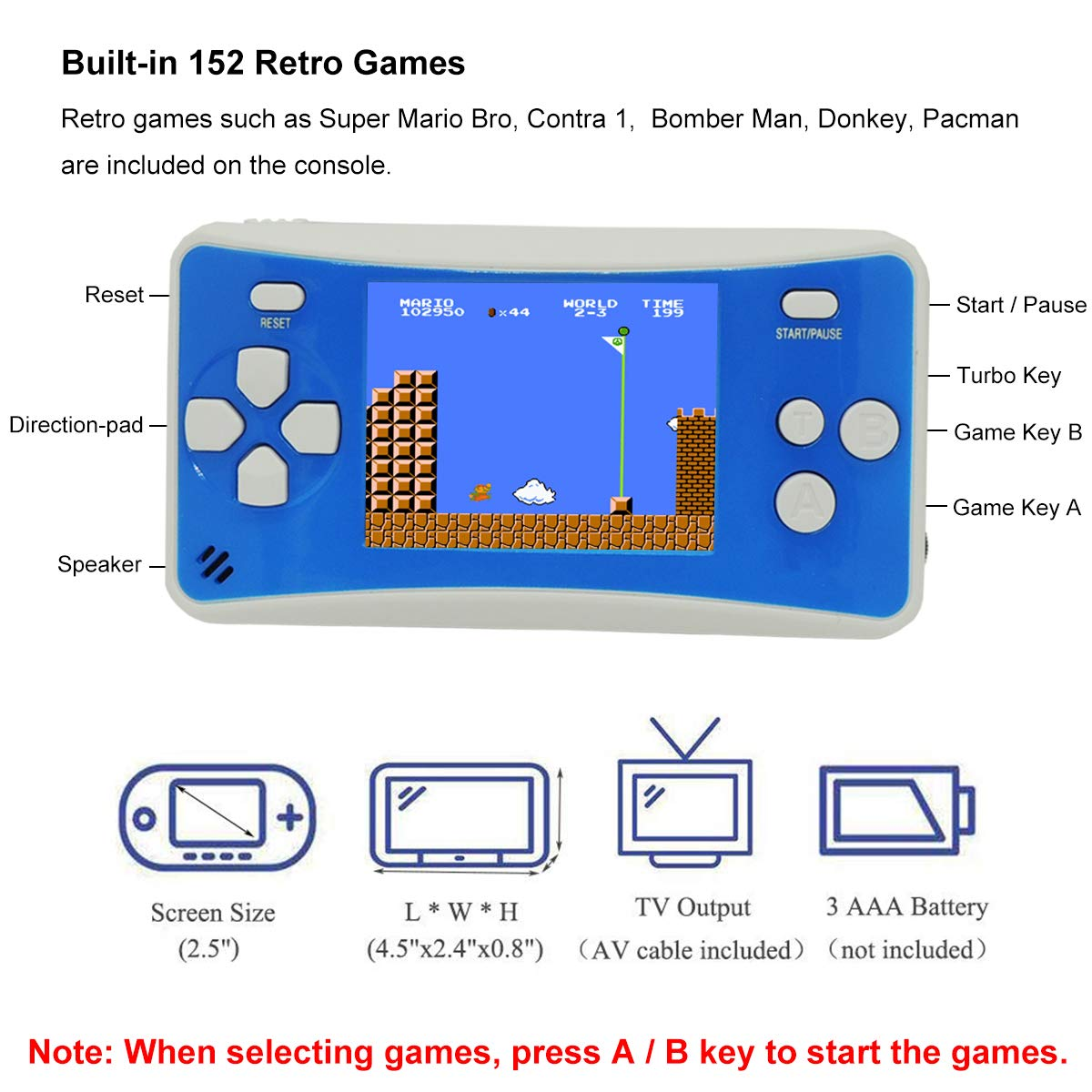 Ideal Christmas or Birthday Gift/Present Portable 2.5 Inch Gameboy Handheld Retro Games Consoles with 152 NES Old-school Games Support TV AV Video Output for Kids Men Women Boys Girls Friend