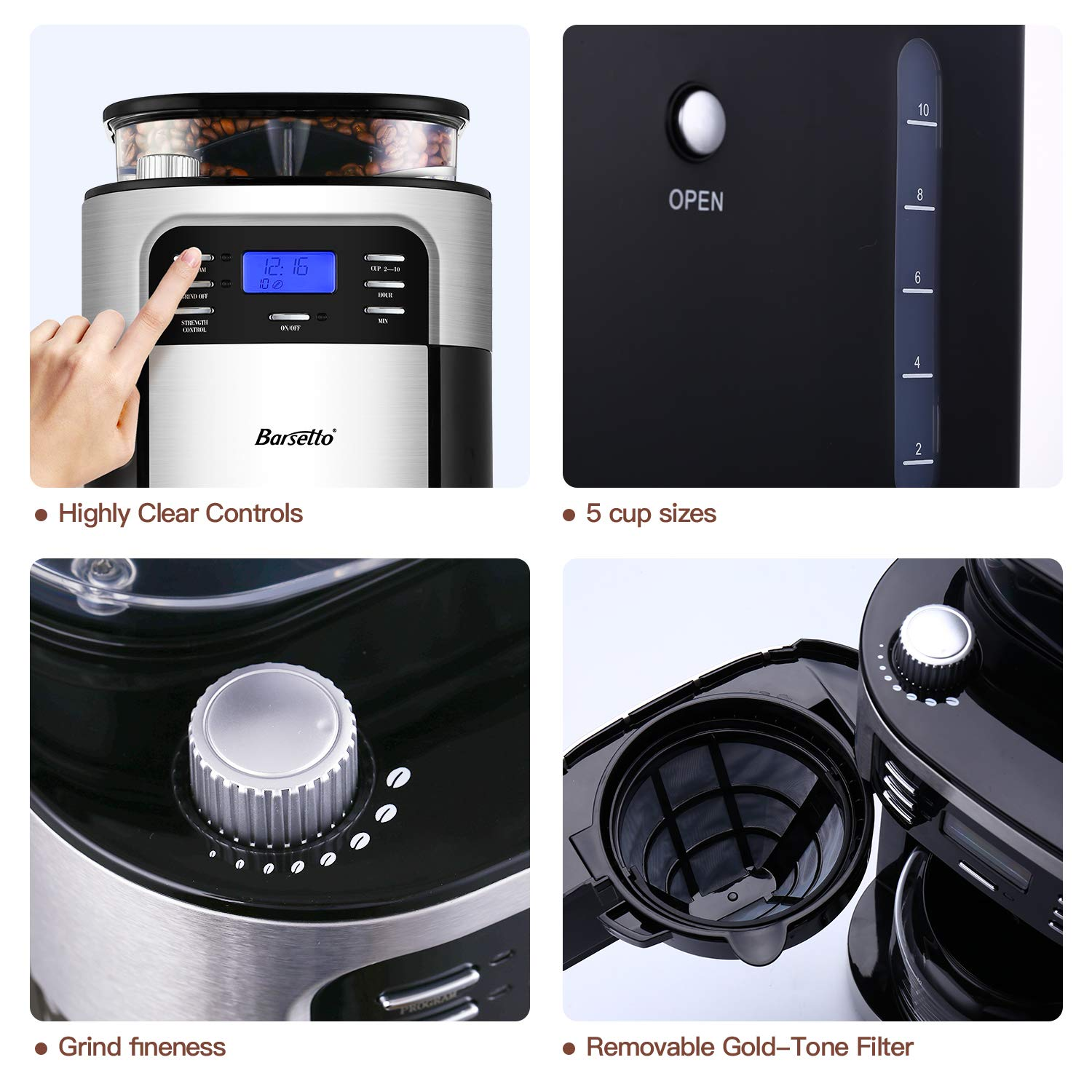 Grind Coffee Machine with Removable Filter Basket Silver and Black Stainless Steel 10-Cup Programmable Coffee Maker with Timer mode and Auto-off Function