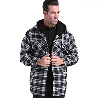 363a67d7a Men Casual Plaid Jacket Coat Full Zip Long Sleeve Spring Flannel Work  Hoodie Fleece Lined Classic
