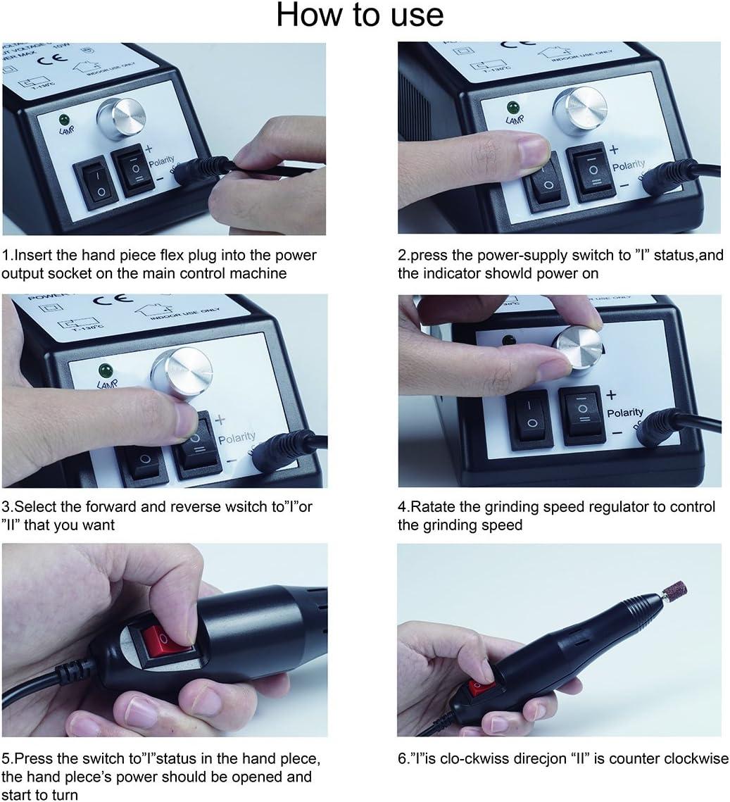 Pulidor de Uñas Aparatos eléctricos y accesorios para manicura y pedicura portátil torno para uñas con 100 bandas de lijado negro: Amazon.es: Belleza