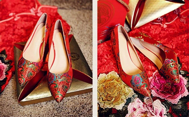 High Heels, Frauen Sandalen Strass Peep Toe Toe Toe Pumps Satin Braut Party Court rot Schuhe, EU37-EU42 (Farbe   A, Größe   EU40) 5032a4