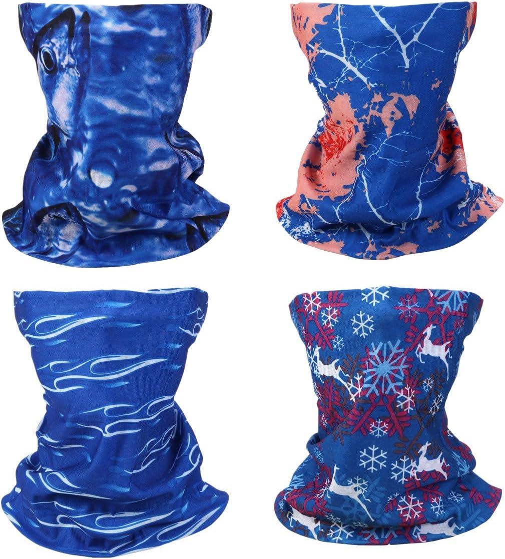 Chic Diary Bunt Multifunktionstuch 4 Stück Gesichtsschutz Tuch Motorrad Fahrrad Sturmmaske Halstuch Kopftuch Damen Herren Auto