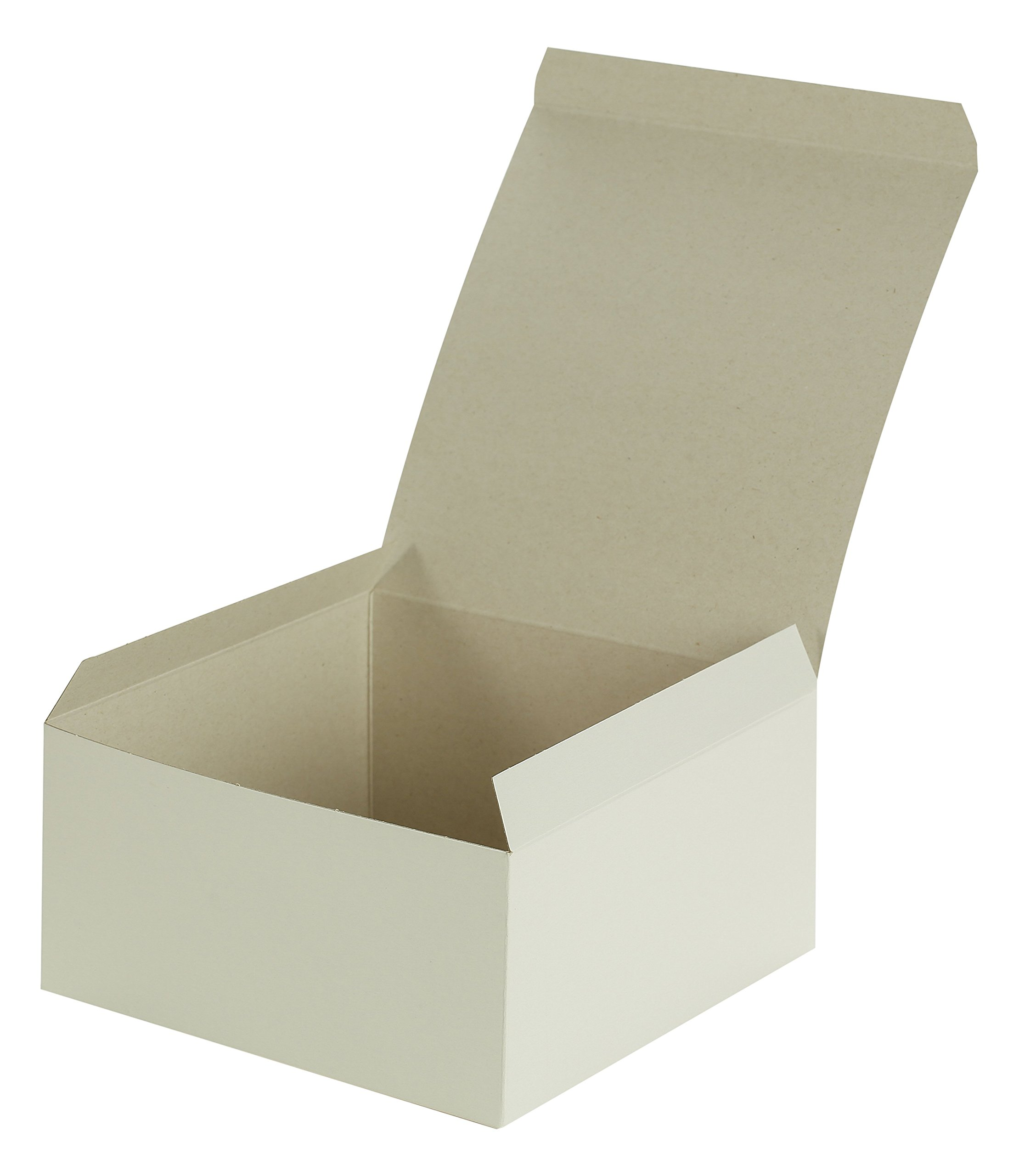 Kraft Pinstripe 1Piece Gift Box - 100Count, 8'' X 3.5'', White Gloss