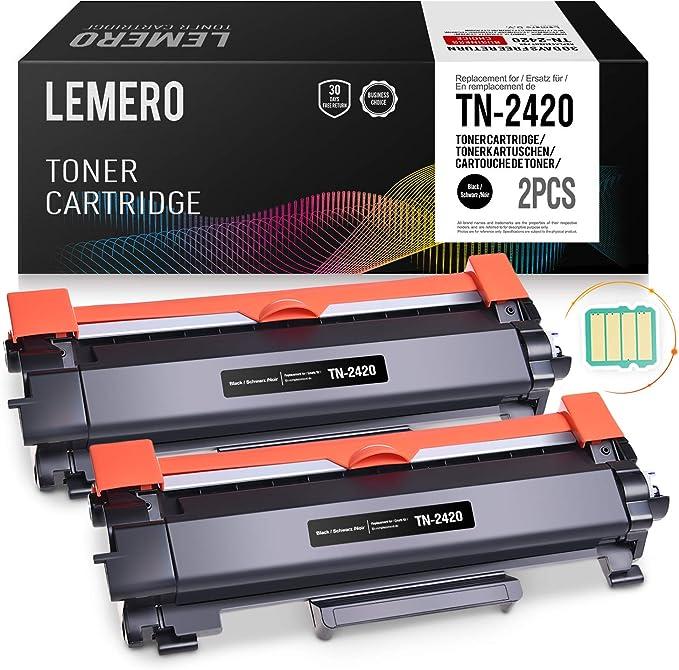2 LEMERO Toner Compatible para Brother TN-2420 TN2420 TN-2410 [con ...