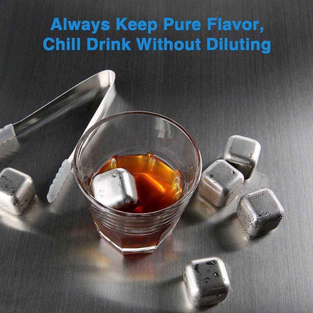 Cubitos de Hielo Reutilizables con Pinza para Enfriar Whisky Cerveza zanmini Piedras de Whisky Aprobado por FDA 6 Cubos Enfriadores de Acero Inoxidable Vino Sidra