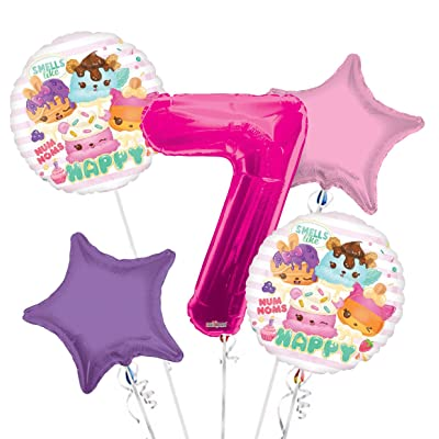 Num Noms Balloon Bouquet 7th Birthday 5 pcs - Party Supplies: Health & Personal Care