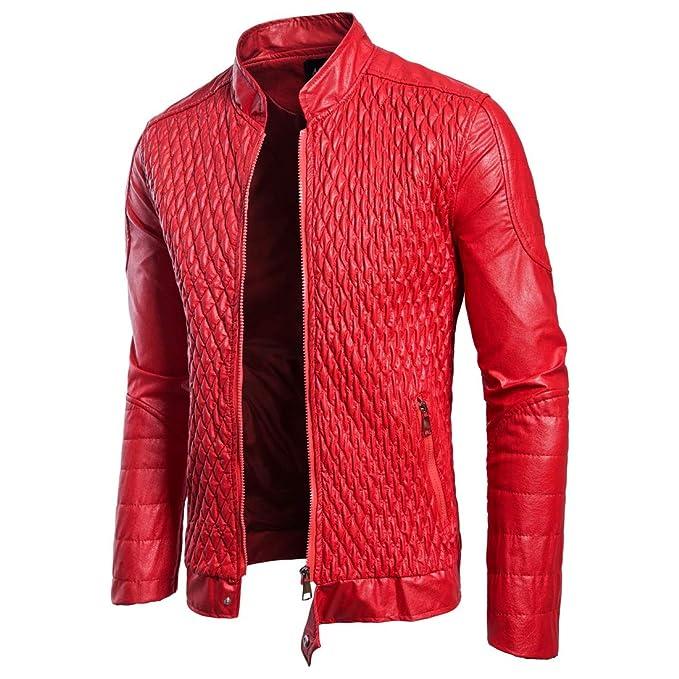 LUXIAO Chaqueta Cuero Hombre, Moda clásica Chaqueta Delgada roja Locomotora Negra PU Chaqueta de Cuero