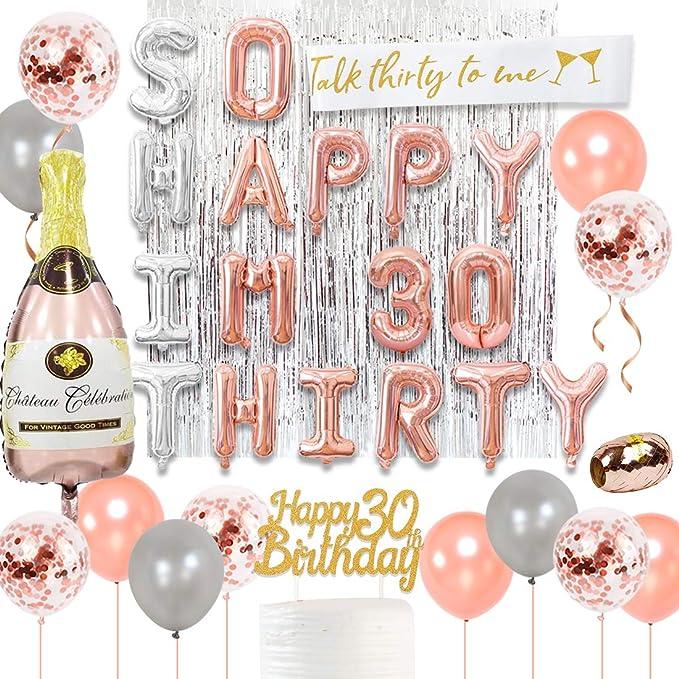 30 Geburtstag Dekorationen Roségold Mit So Viel Glück Ich Bin Dreißig Luftballons Sprich Dreißig Mit Mir Schärpe Cake Topper Für Frauen Dirty Thirty Party Küche Haushalt