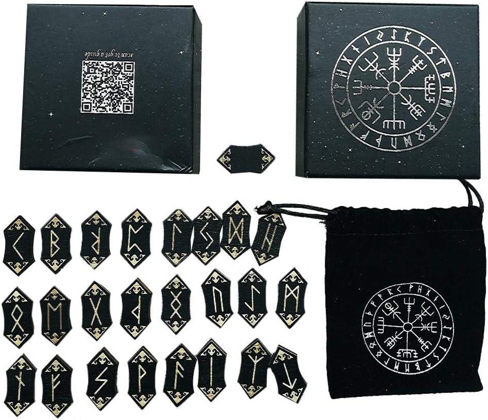 Rune Stones Set de runas de Gemas de Piedras Preciosas Naturales con 25 Piezas de Piedras, runas y Tarot Bolsa de Almacenamiento de runas dedicada