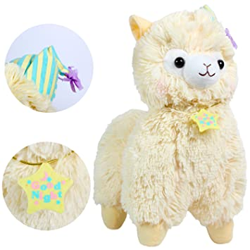KOSBON 14 Amarillo Good Night Plush Alpaca, 100% Peluche Juguetes de muñeca