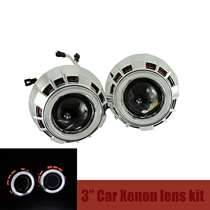 Amazon Com 3 0 Car Headlights Hid Bi Xenon Projector Lens Kit Halo