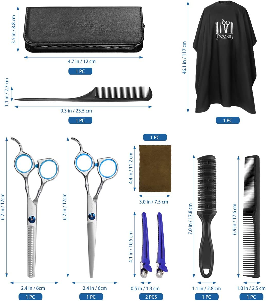 Hair Cutting Scissors Hairdressing Thinning Shears Kit with Barber Cape Hair Thinning Cutting Combs and Black Case