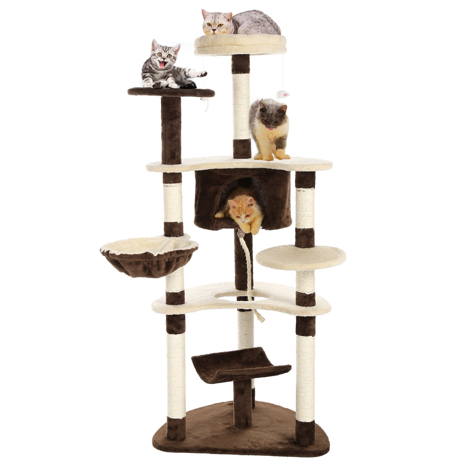 Flyerstoy Cat Tree Condo with Scratching Post Pad Cat Tower Furniture House 60inch Height [US Stock]