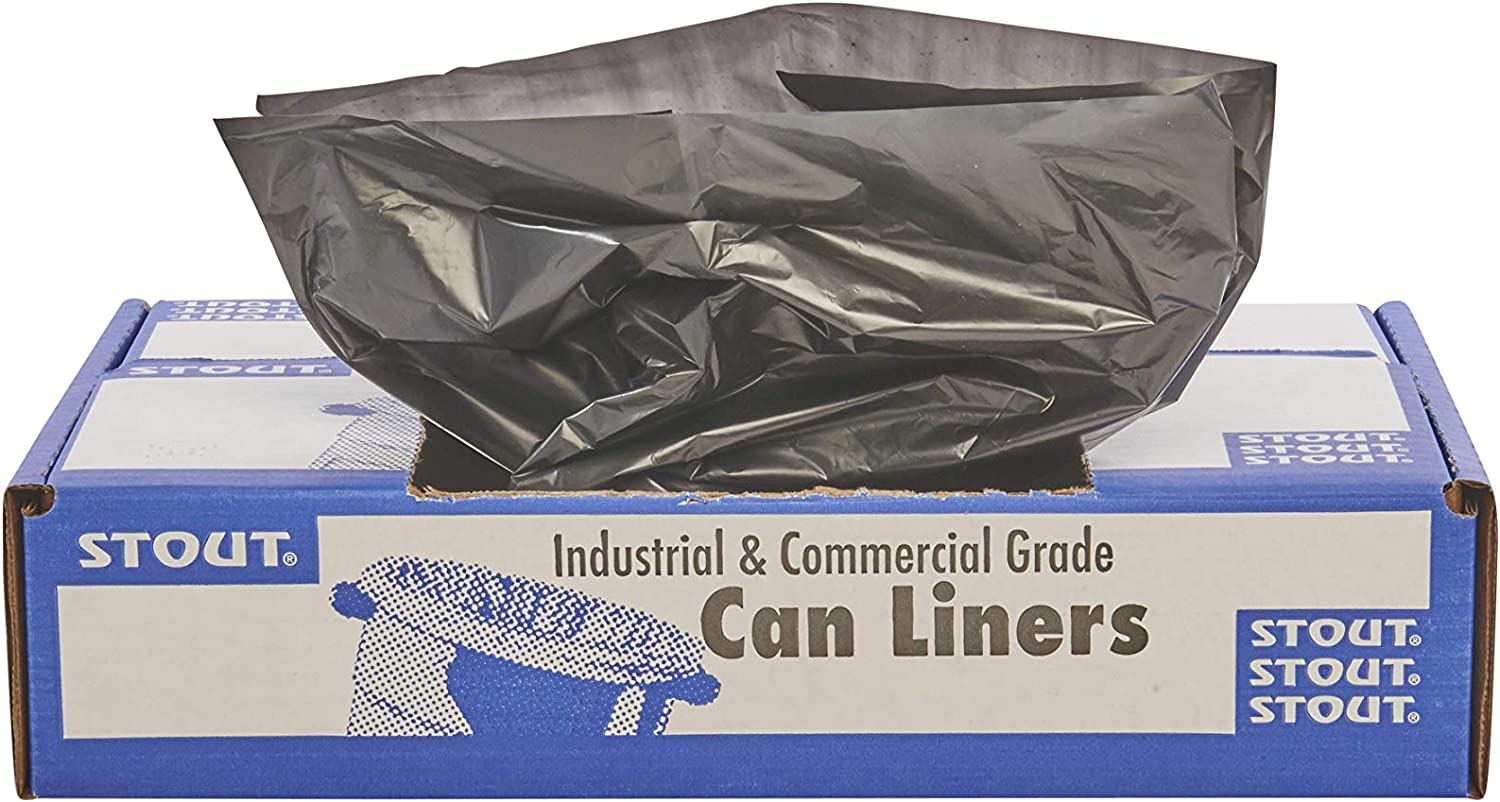Stout by Envision Commerical 7-10 Gallon Can Liners - 250 Bags - 1 mil Heavy Duty Industrial 100% Recycled Puncture & Tear Resistant Garbage Trash Bags