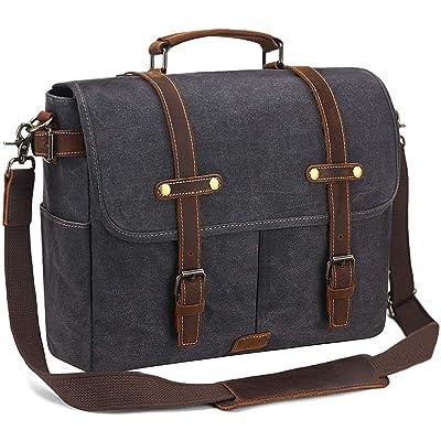 Mens Messenger Bag Laptop Bag 15.6 inch Waterproof Vintage Canvas Briefcase Leather
