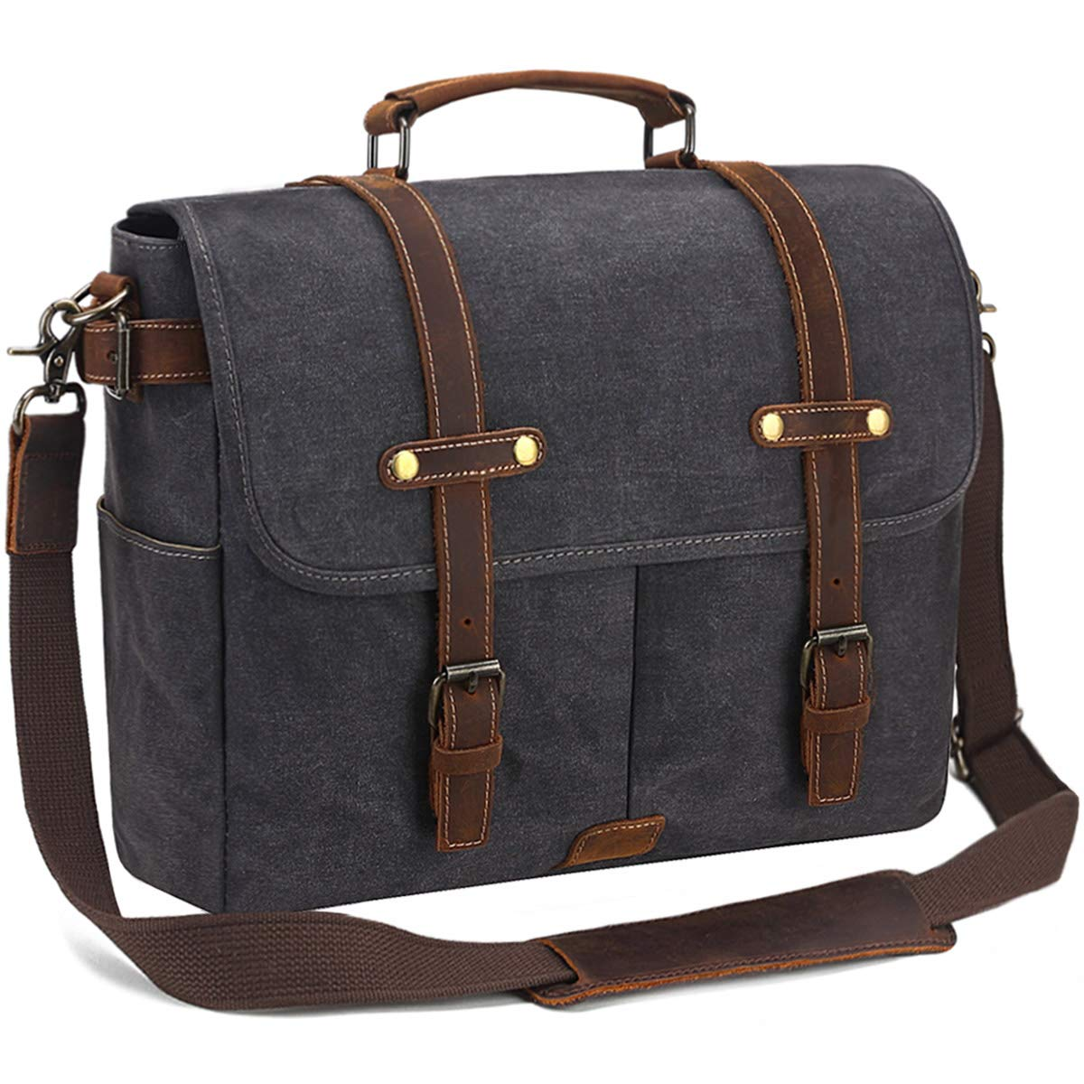 SOAEON Mens Messenger Bag,Laptop Bag 15.6 inch,Waterproof Vintage Canvas Briefcase, Leather Computer Bag for Business&School Travel Grey by SOAEON (Image #1)