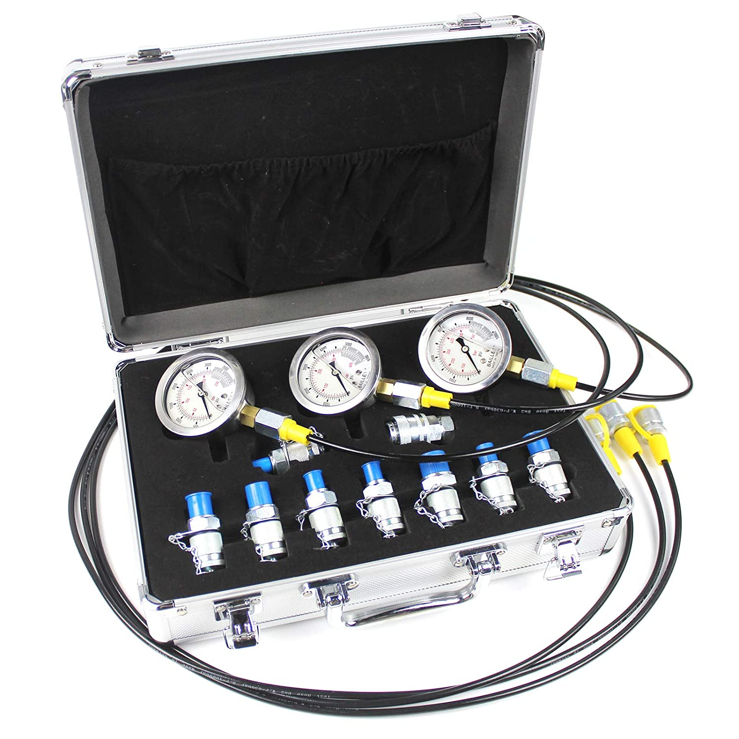 COPACHI 9000psi Hydraulic Pressure Guage Kit with 3pcs Oil Gauges 3pcs Test Hose 10pcs Text Coupling for Most Excavator Hydraulic Testing Working, in a Strong and Light Aluminum Case hydraulic gauges