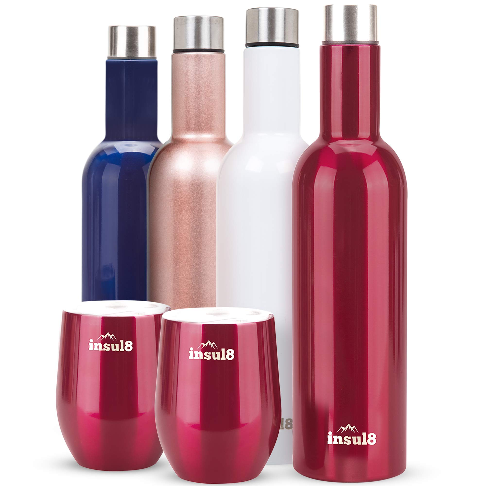 Stainless Steel Vacuum Insulated and Double Walled 25 ounce Wine Bottle and 2 12 ounce Wine Tumbler Cups Metallic Red Set by insul8 (Image #1)