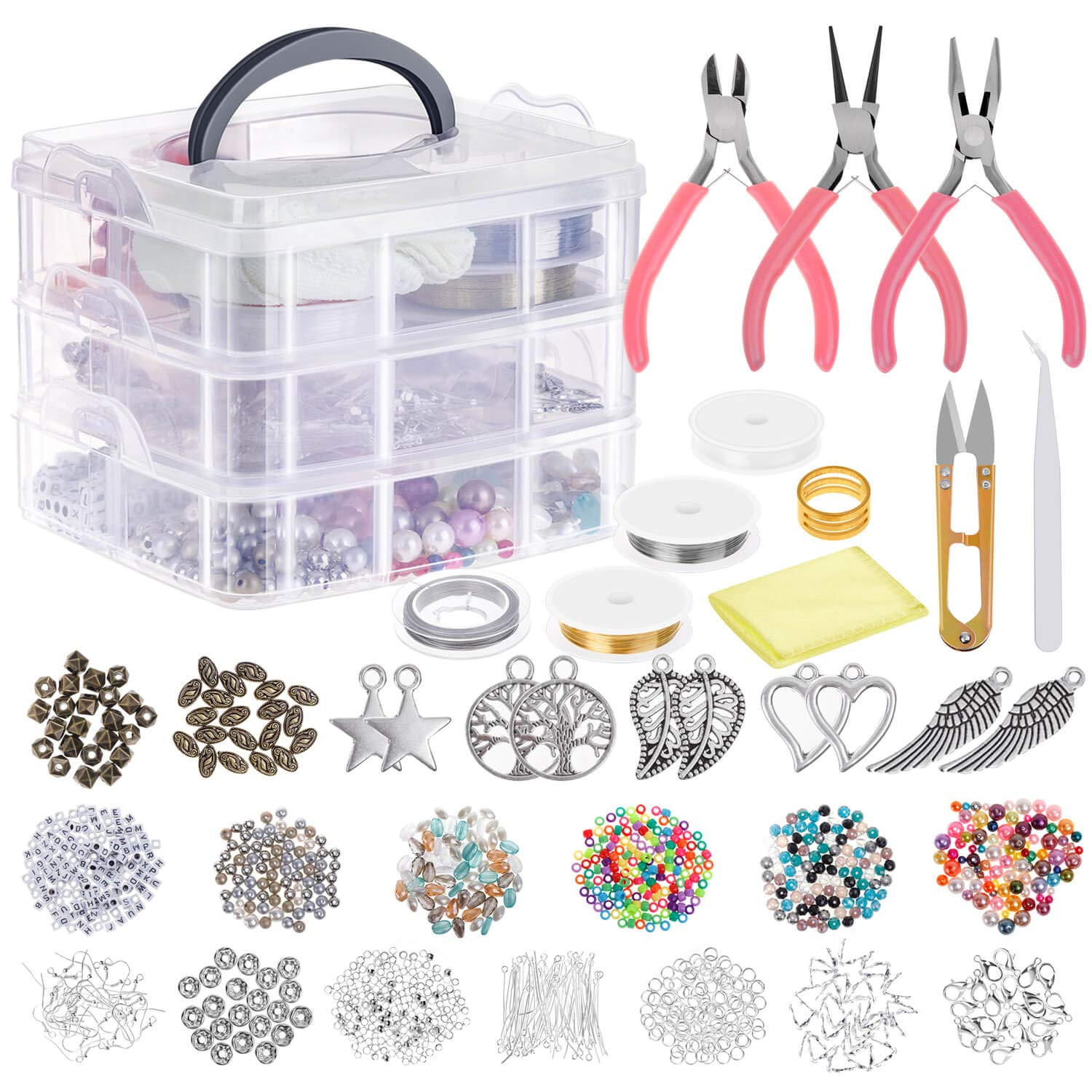 Jewelry Making Supplies, Cridoz Jewelry Making Tools Kit with Jewelry Pliers, Beading Wire, Jewelry Beads and Charms Findings for Jewelry Necklace Earring Bracelet Making Repair by cridoz