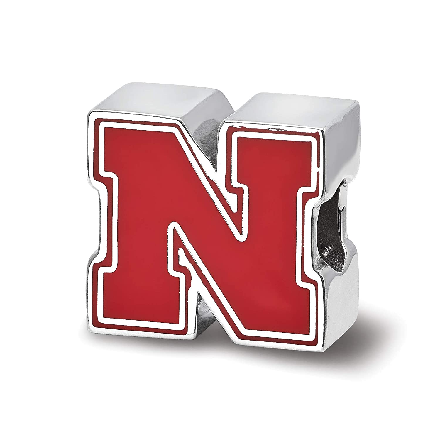 University of Nebraska Cornhuskers Red School Letter Extruded Charm Bead in Sterling Silver 12x13mm