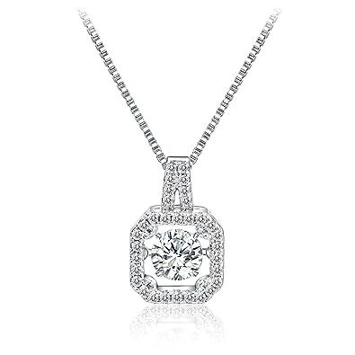 0bf28102815 Amazon.com: T400 925 Sterling Silver Pendant Necklace Dancing Diamond Stone  Cubic Zirconia from Swarovski Women Gift: Jewelry