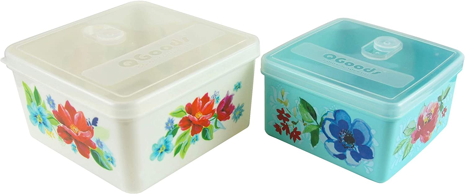 QG 70 & 40oz Square Plastic Food Storage Containers with Lids BPA Free - 2 Pieces White & Light Blue with Pattern