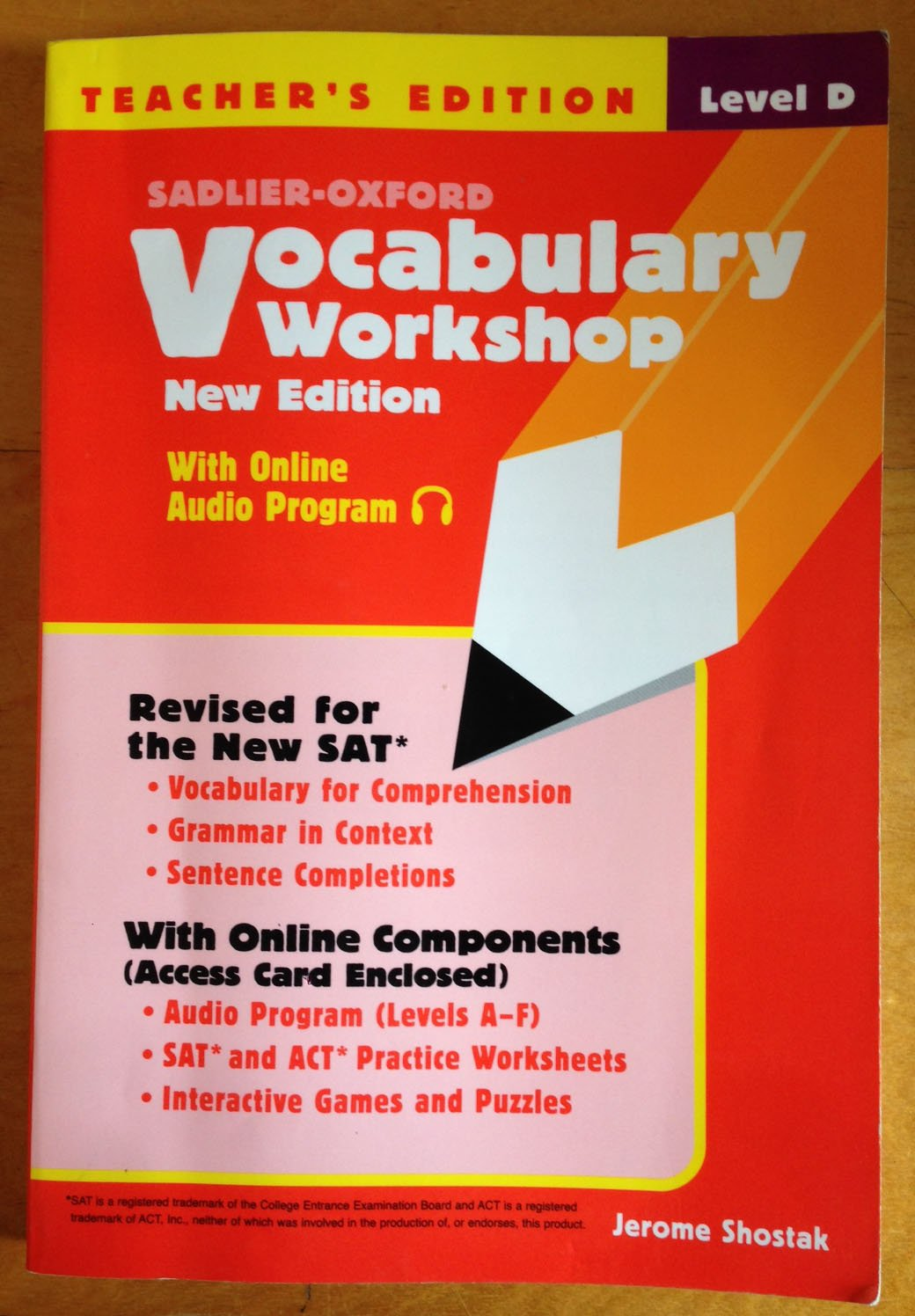 Vocabulary Workshop Level D Teachers Edition Jerome Shostak – Sat Vocabulary Worksheets