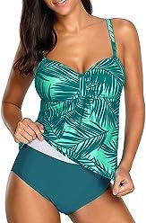 a9cc73a6a4 ROSKIKI Womens Patchwork Printed Ruffle Swimsuits One Piece Swimwear  Bathing Suits with Bikini Bottom