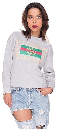 c9d1420d2216 Longsleeve Shirt Damen Sweater Stripes Sweatshirt Streifen Pulli T-Shirt  Top Oberteil Oucci Logo Hellgrau