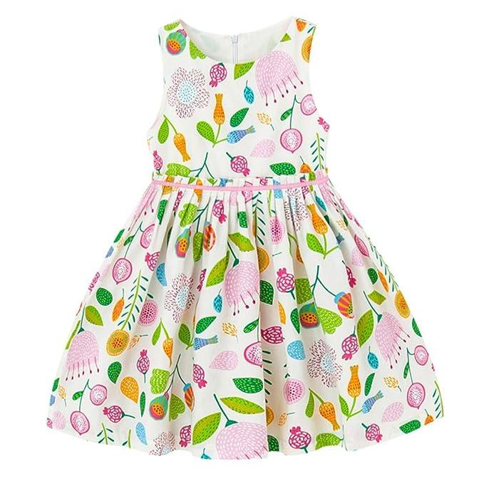 b96782af526a Arbag Girl Floral Print Sleeveless Dress Cotton Kids Sundress For Everyday ( 8-9