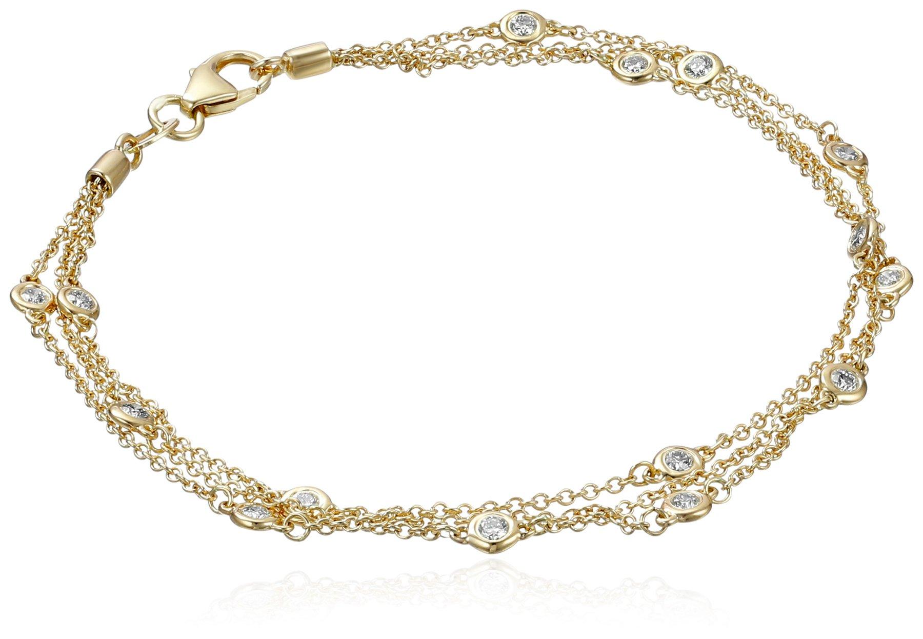 14k Yellow Gold Floating Diamond Strand Bracelet (1/2 cttw, K-L Color, I1-I2 Clarity), 7''