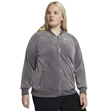 c4a5770ab9ab Nike Women s Velour Track Jacket Gunsmoke Metallic Silver AH2853-036 (1X  Plus)