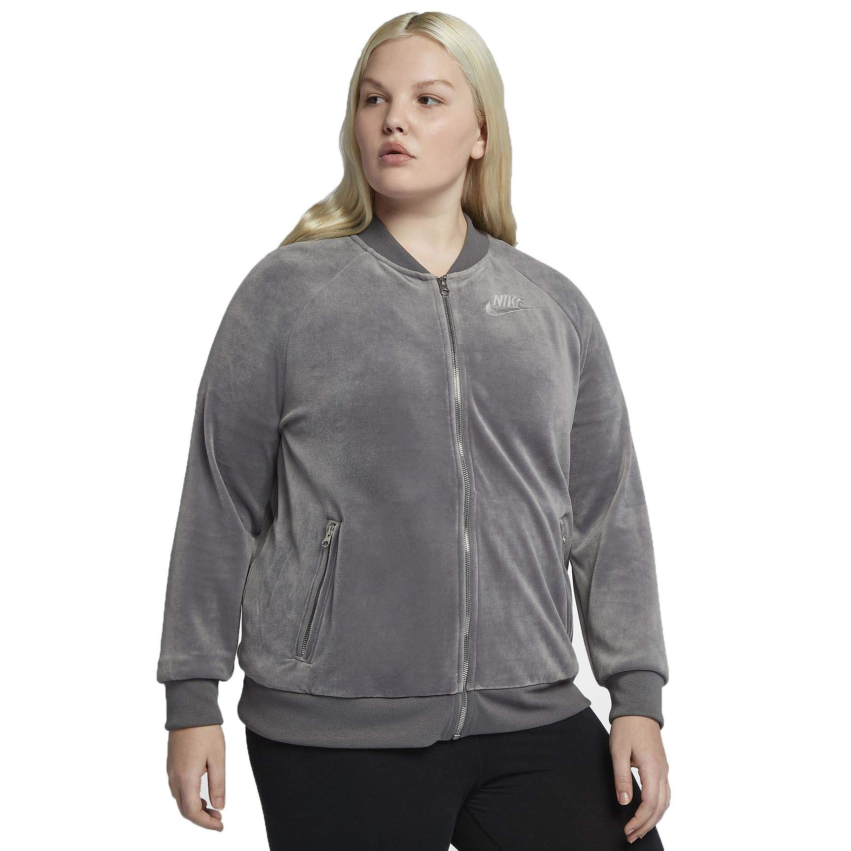 NIKE Women's Velour Track Jacket Gunsmoke Metallic Silver AH2853-036 (1X Plus) by NIKE