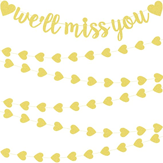 Well Miss You Banner Decoraciones Banderas Doradas de ...