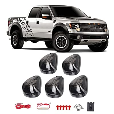 5PCS Smoke Lens White LED Cab Roof Top Marker Lamps Clearance Running Lights Assembly For 1999-2016 Ford F250 F350 F450 F550 Super Duty 2020 2020 E350 E450 Super Duty Pickup Truck: Automotive