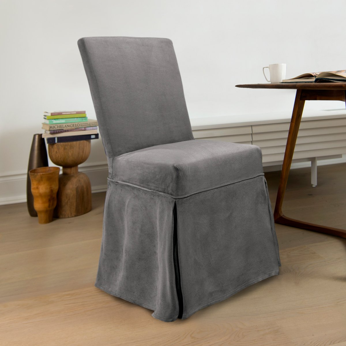 CoverWorks SIEN1941SLAT4 Sienna Slipcover with Ties in Slate Pack of 4,Slate,Parson's Chair by CoverWorks