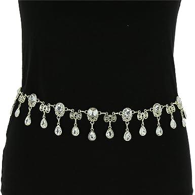 2def1cf29301 FASHIONGEN - Ceinture chaîne pendantes à strass pour femme, Taille  Réglable, ALMA - Argenté, Taille unique  Amazon.fr  Vêtements et accessoires