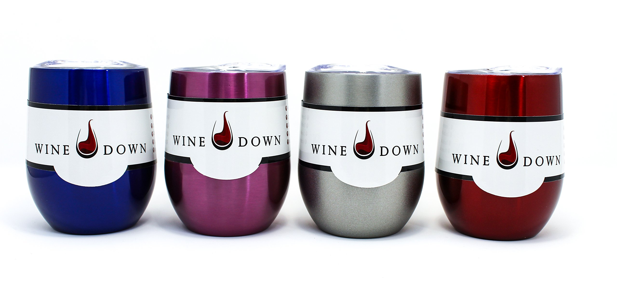Wine Down 9 oz Stainless Steel Wine Glass Tumblers Eco-Friendly Clear Plastic Lid w/Rubber Seal Perfect for Outdoor Patios, Kitchen, Picnics, Car, Home, Travel, Students - (4 Pack Shiny Multi)