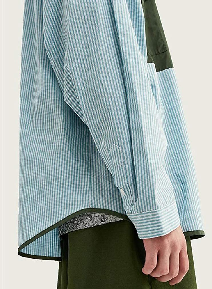 Abetteric Men Individuality with Pockets Splice Stripe Long-Sleeve Shirts